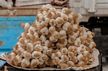 bunch of garlic on the open air market