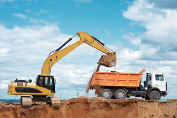 wheel loader excavator and tipper dumper