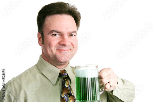 St Patricks Day - Man with Green Beer