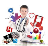 Child Doctor with Health Icons on White