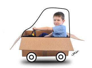 Boy Driving Box Car on White