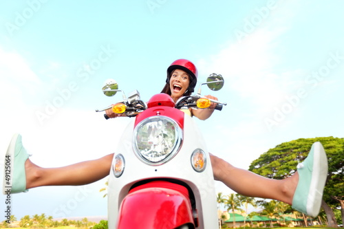 canvas print picture Funny happy free woman on scooter