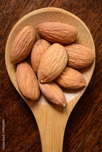 Almonds in a Wooden Spoon Close Up