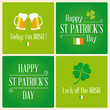 Happy St Patricks day card with beer and clover