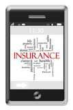 Insurance Word Cloud Concept on Touchscreen Phone
