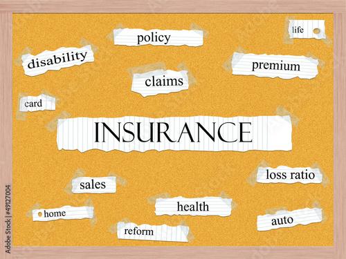 Insurance Corkboard Word Concept