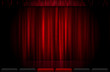 Closed red stage curtain illustration