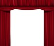 Opened red curtain isolated