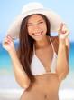 Happy young woman beach portrait