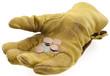 main gantée tendue pour une obole, mendicité
