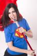 Super Hero Mom Singing Kareoke with Broom Stick