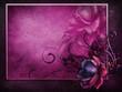 Różowa ramka z kwiatami