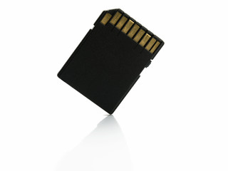 SD computer memory card isolated on white background