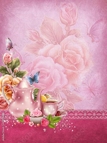 Różowe tło retro z dzbankiem i filiżanką