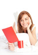 Girl reading romantic Valentine card