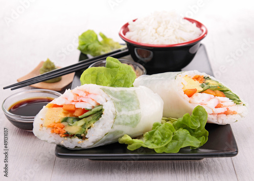 japanese sushi roll and rice