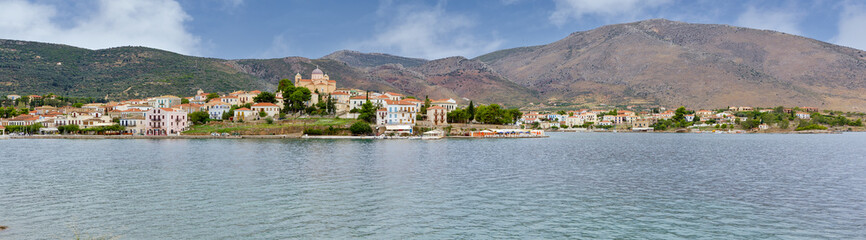 Panorama of the picturesque town of Galaxidi, Phocis, Greece