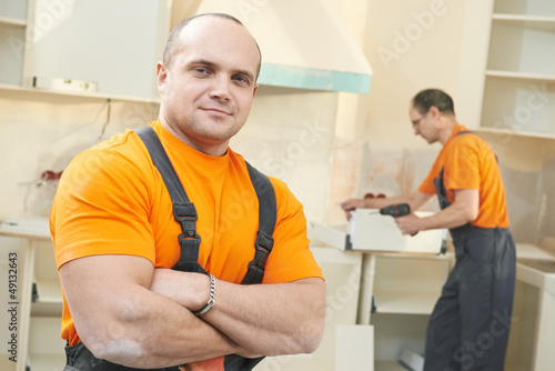 Portrait of kitchen installation worker