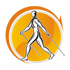 nordic walking logo stylized