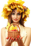 beautiful woman with wreath and basket with barberry, isolated