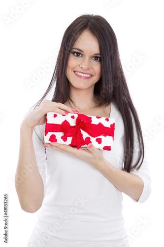 Frau mit roten Herzen - Geschenk isoliert