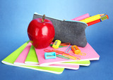 pencil box with school equipment on blue background