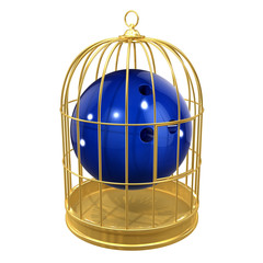Birdcage with bowling ball inside