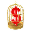 Birdcage with dollar symbol inside