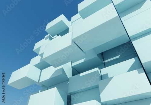 abstract background of box float, 3d rendering