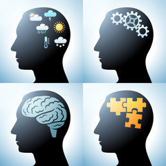 Human head with brain concepts, eps10 vector