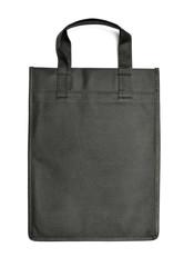 Black reusable bag on white background