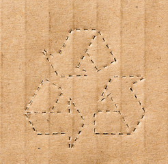 recycling symbol on the carton background