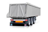 Steel trailer, gray truck