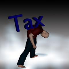 uomo schiacciato dalle tasse