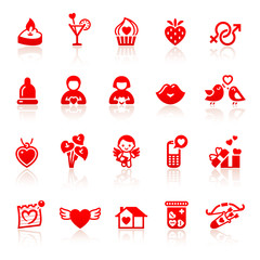 Set valentine's day red icons with hearts
