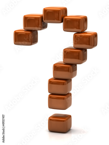 Question mark made of orange cubes