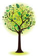 green tree with ecological icons