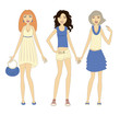 Three young stylish women demonstrating summer clothes.