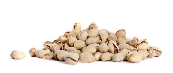 pile pistachios on a white background