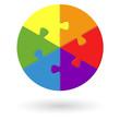 Puzzle - rund - 6 Möglichkeiten