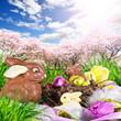Frohe Ostern: Schoko-Osterhasen versteckt in Park
