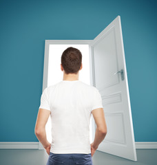 guy and  opened door