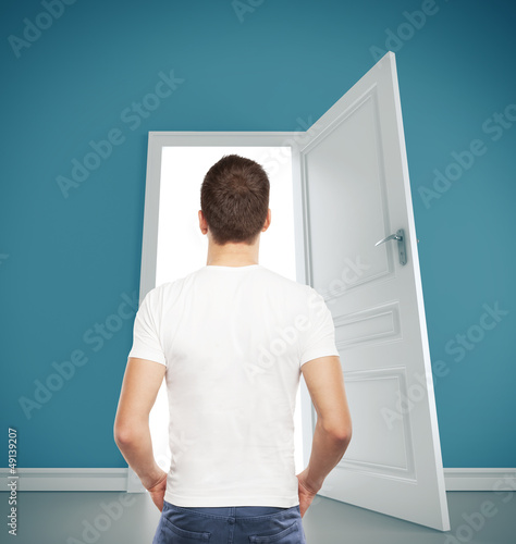 guy and  opened door