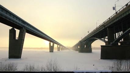 Road and subway bridges in Novosibirsk, Russia