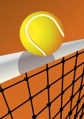Tennisball mit Tennisnetz