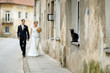 Bride and groom taking a walk