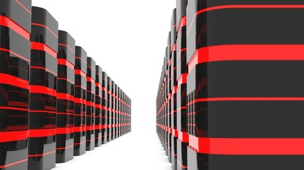 Database server room or data center - row of servers