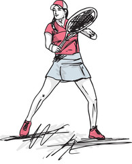 Sketch of woman playing tennis. Vector illustration