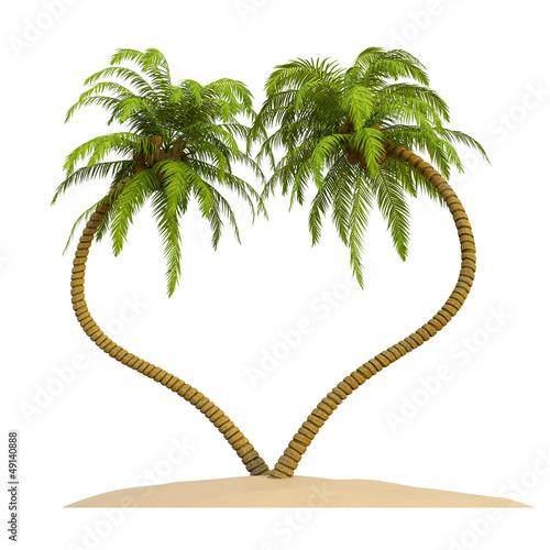 Palmen in Herzform Insel Sand Isoliert