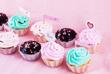 Gourmet cupcakes with hearts